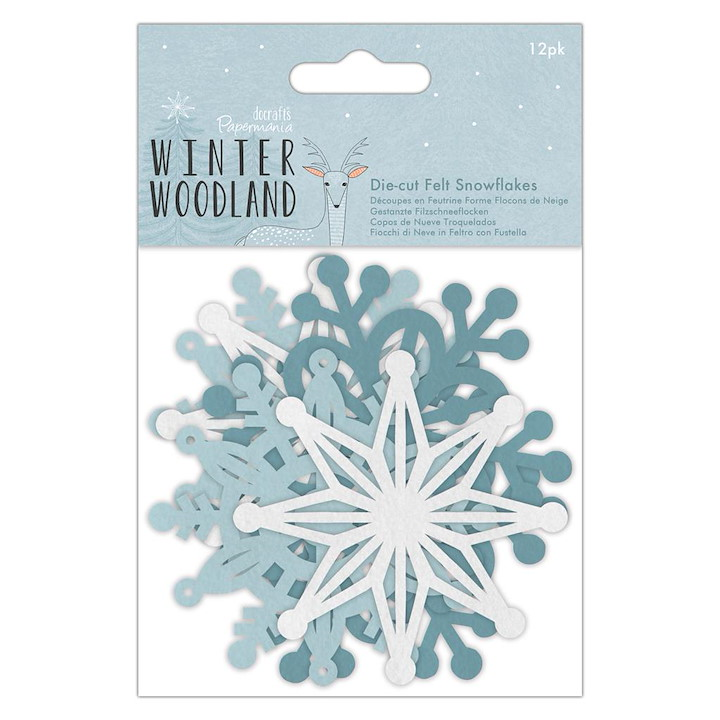 Die-cut Felt Snowflakes (12pk) - Winter Woodland