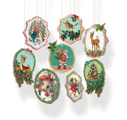 Vintage Pop-out Santa Decorations
